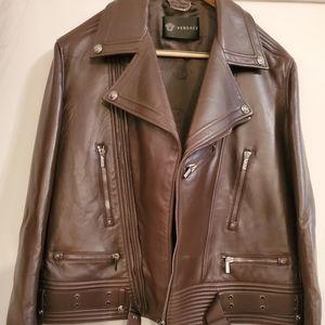 Versace Giubbotto Pelle Leather Coat Espresso